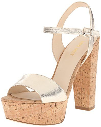 Nine West Womens Carnation Metallic Heeled Sandal Light Gold Metallic 95 M  US * Learn more