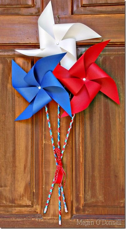Pinwheel Decor (Take Two)...did you know making pinwheels is super easy?  Even a kid can do it!