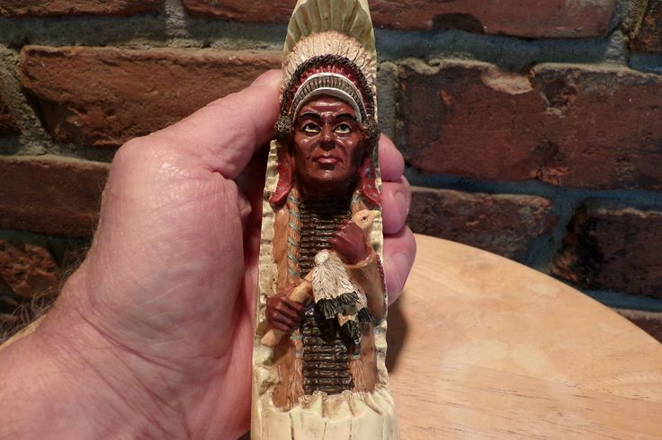 Vintage Western Décor, Native American Décor, Carved Indian Chief in Horn, Carved Resin Chief in a horn by Morethebuckles on Etsy