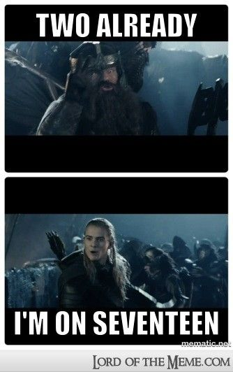 I just really want to see Legolas and Thranduil do this in the next Hobbit, even if it's not really a very grown up Elf thing for the latter to do. I also want to see him come out very much ahead of his son.