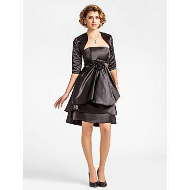 Lanting+Bride®+А-силуэт+Большие+размеры+/+Миниатюрный+Платье+для+матери+невесты+-+Накидка+в+комплекте+До+колена+Рукав+до+локтя+Сатин+-++–+RUB+p.+5+031,58