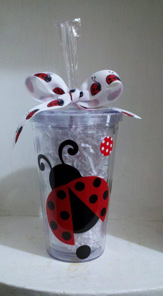 Anybody looking for a b-day present for me???? :-) Personalized 16 oz Ladybug Acrylic BPA Free by CuteandJazzyDesigns, $10.00