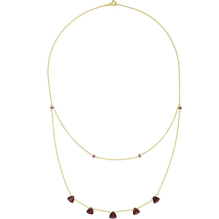 Fantastic trilliant cut garnets sparkle mysteriously in a deep and rich crimson colour on this fine 24k gold vermeil necklace.  Unlike other gemstones that are commonly treated to enhance their appearance, garnets are 100% natural without any human interference. The minimalist design accentuates the natural beauty of the stones.  The chain and fittings are made of sterling silver with an unmistakable rich colour of 24k gold plating, which reinforces the overall classy look and feel.