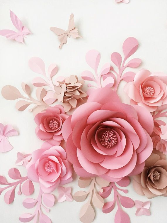Set of 7 Large Paper Flowers Paper Leaves and Butterflies – Paper Flowers -Paper flower Wall decor – Paper Flower wall (code:#129)