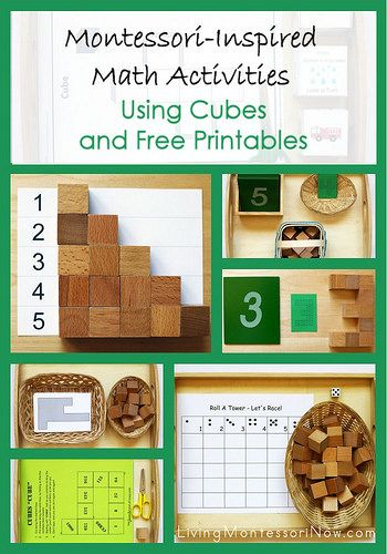 Montessori-inspired activities using free printables with wooden cubes