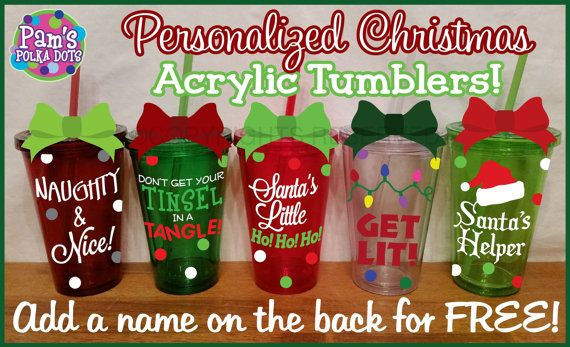 Acrylic COLORED CHRISTMAS TUMBLER in Red, Green, Burgundy, Lime, or Clear. Handmade by Pam's Polka Dots