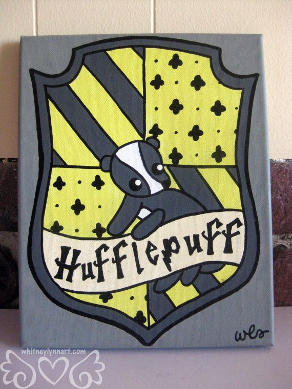 Hufflepuff House Crest Painting 8x10 by whitneylynnart on Etsy, $59.00
