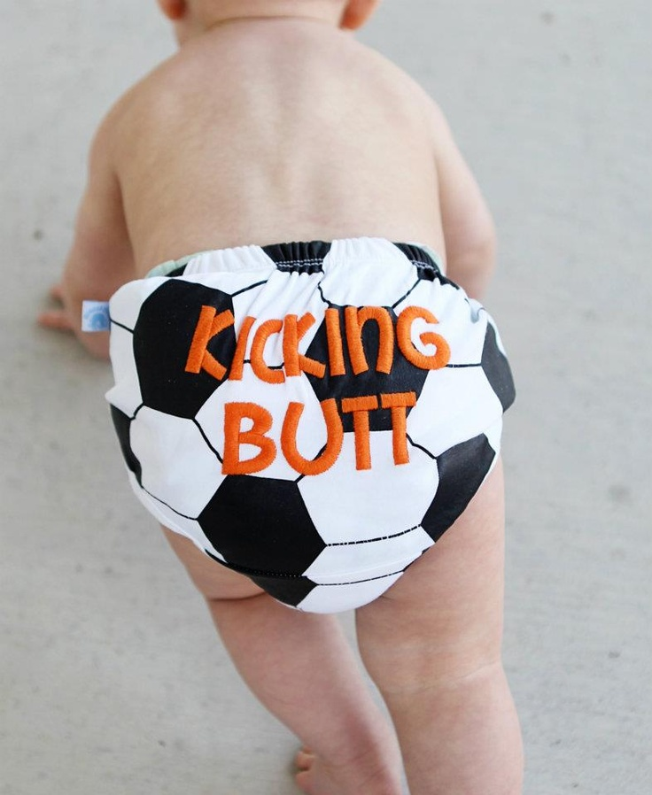 Soccer bloomers to cover that diaper of his.  $20  http://www.bebeohlala.com/collections/ruffled-butts-bloomers/products/soccer-bloomers