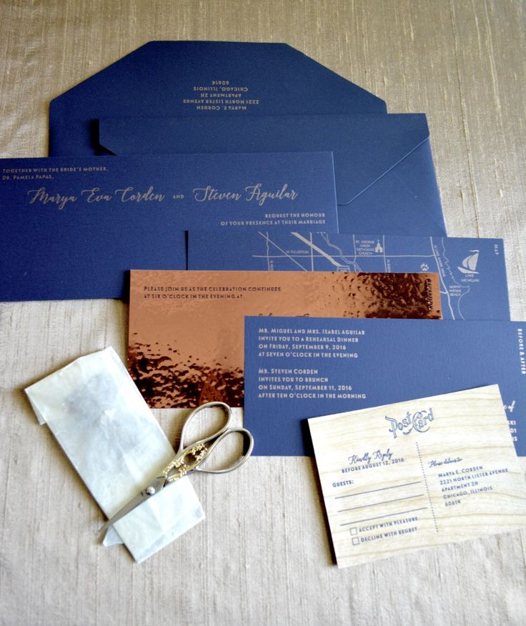 Modern navy blue and copper letterpress wedding invitation suite features luxury card stock and wood rsvp card, by Lucky Invitations.