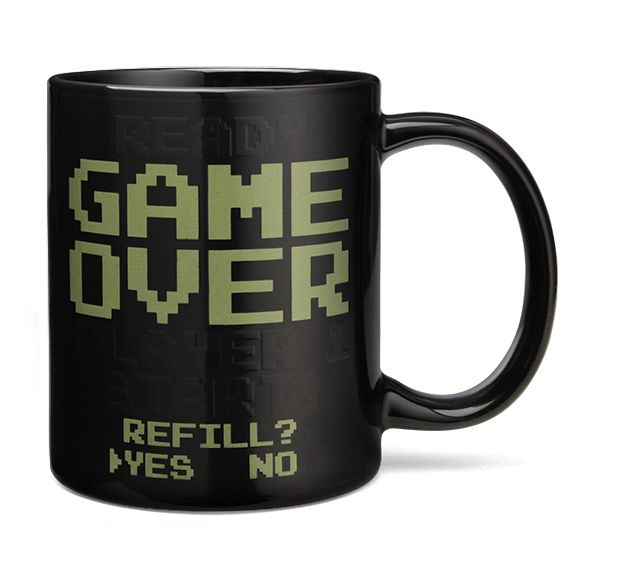 This mug is just like the video games of old, except instead of adding quarters, you add hot liquids.