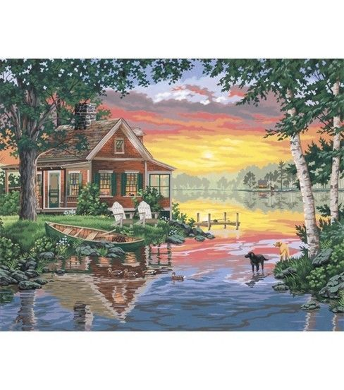 Dimensions Paint By Number Kit 20x16 Sunset Cabin
