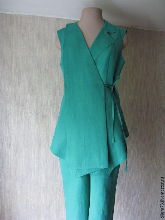 Костюм а-ля Ёдзи Ямамото - бирюзовый, жилет, брюки, лен, ассиметрия, костюм