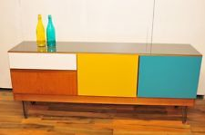 Retro Vintage Sutcliffe SForm Sideboard Coloured Doors, Drawers and Glass Top