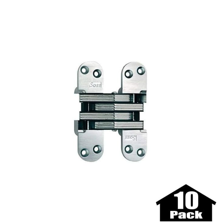 "Soss 220-10PACK 5-1/2"" High Invisible Hinge for Heavy Duty - 10 Pack Satin Chrome Cabinet Hinges Inset Hinges Invisible Hinges"