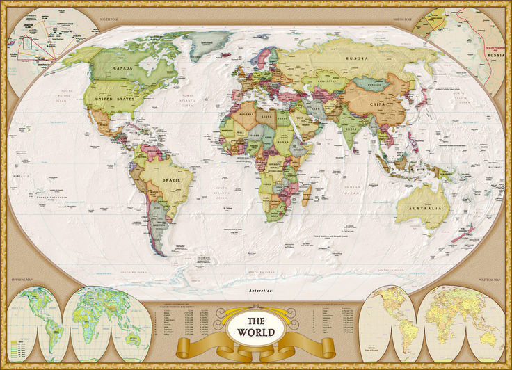 EuroGraphics Map of the World 1000-Piece Puzzle. A beautifully rendered map of the world including comprehensive data on population and area plus political and geological features.