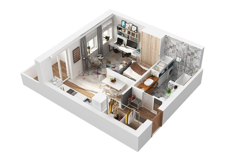 small but light and comfortable apartment for a young creative family.
