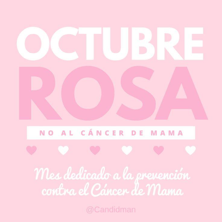 Octubre Rosa No al Cáncer de Mama Mes dedicado a la prevención contra el Cáncer de Mama. @Candidman #Frases Salud Candidman Cáncer Cáncer de mama Día contra el Cáncer de Mama Lucha Lucha contra el Cáncer de Mama Octubre Octubre Rosa Prevención @candidman