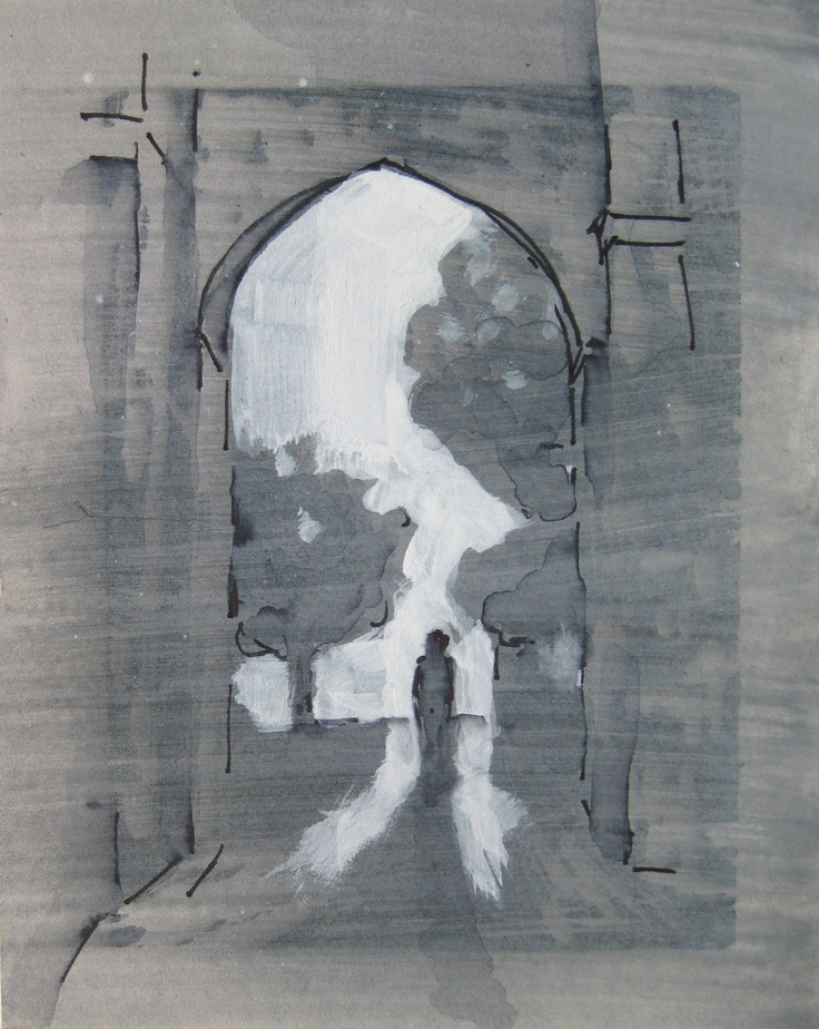 Mixed Media Architecture Drawing - Passage 1 -- by Michelle Arnold Paine. $65.00, via Etsy.
