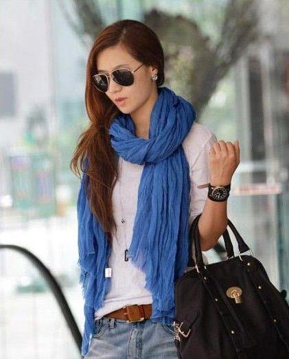 Navy Blue Scarf -cotton drape scarf