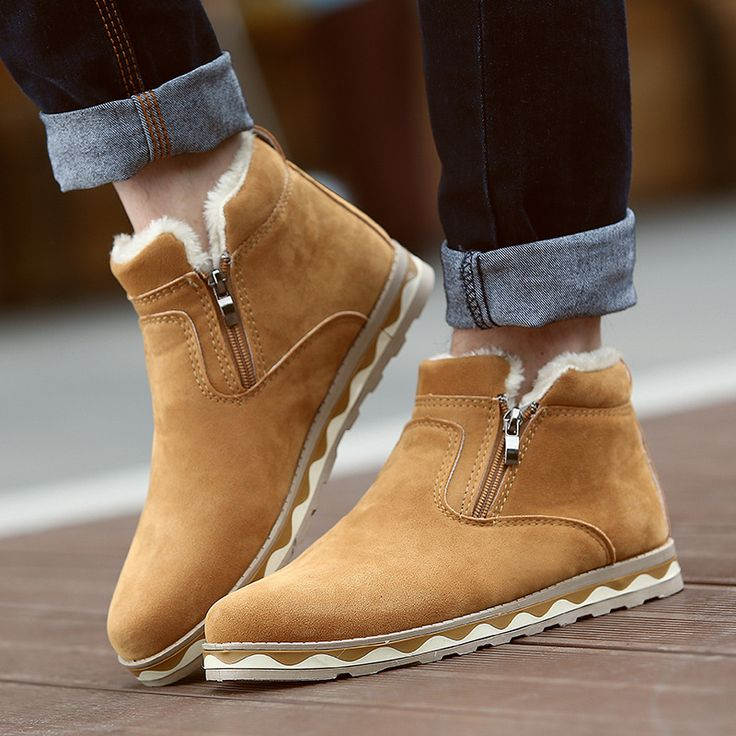 2016 Hot Sale Men Boots Leather Suede Winter Snow Boots Plush Lining Male Boots Botas Bottes