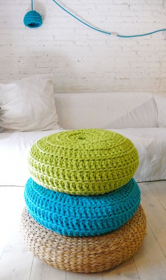 Knitted Floor Cushion Patterns Free : 17 Best images about Crafts - Poufs on Pinterest Crochet pouf pattern, Floor cushions and Pouf ...