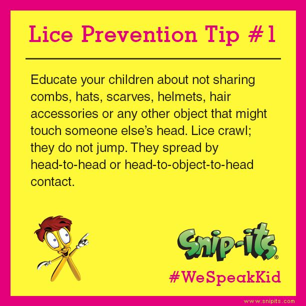 """""""Educate your children about not sharing combs, hats, scarves, helmets, hair accessories, or any other object that might touch someone else's head. Lice crawl, they do not jump. They spread by head-to-head or head-to-object-to-head contact.""""  September is National Head Lice Prevention Month. We'll be sharing tips every week so stay tuned! Here's the first one. #WeSpeakKid"""