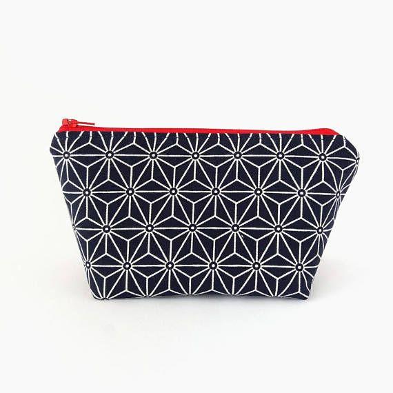 Makeup bag Japanese pattern makeup bag Makeup pouch Zip