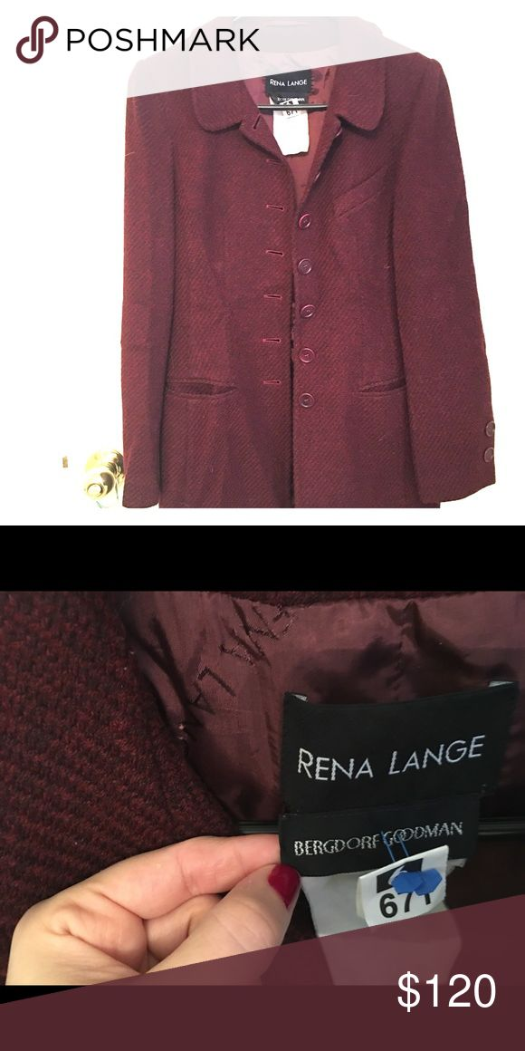 Rena Lange blazer maroon. Chic Rena Lange maroon blazer. Worn but in excellent condition. Was folded in my closet so will need to be dry cleaned. Purchased at Bergdorf Goodman rena lange Jackets & Coats Blazers