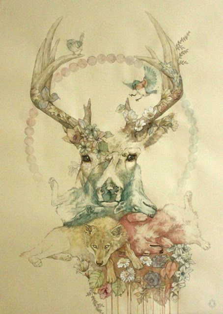 Oriol Angrill Jordà. this would make a pretty tattoo. This is top tattoo in my book. Deer, wildlife, country.. Everything I want in a tattoo.