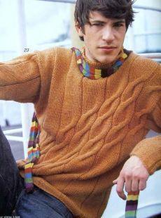Модели вязания со схемами и описаниями: Мужской пуловер спицами