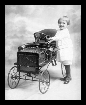 Little Girl And Her Pedal Car 1910s