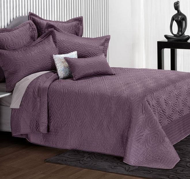 Tiana Grape - Polyester front and reverse, Polyester and cotton fill, Quilted - #bedspreads