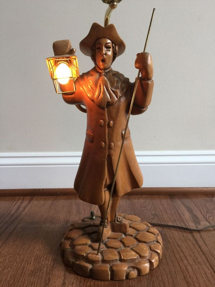 Vintage Paul Revere Lamp Wood Carved Wooden Light Patriot American Revolution Table Lamp Paul