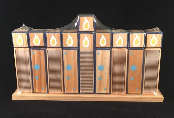 Hanukkah Menorah Wood Block Candles Jewish Festival of Lights Judaica New in Collectibles, Religion & Spirituality, Judaism | eBay
