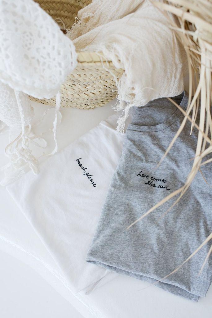 DIY word embroidered tee