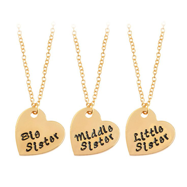 3 pcs / set of gold and silver loving family BFF necklace big / mid / lit Sis sisters girlfriends love Necklace Free Shipping