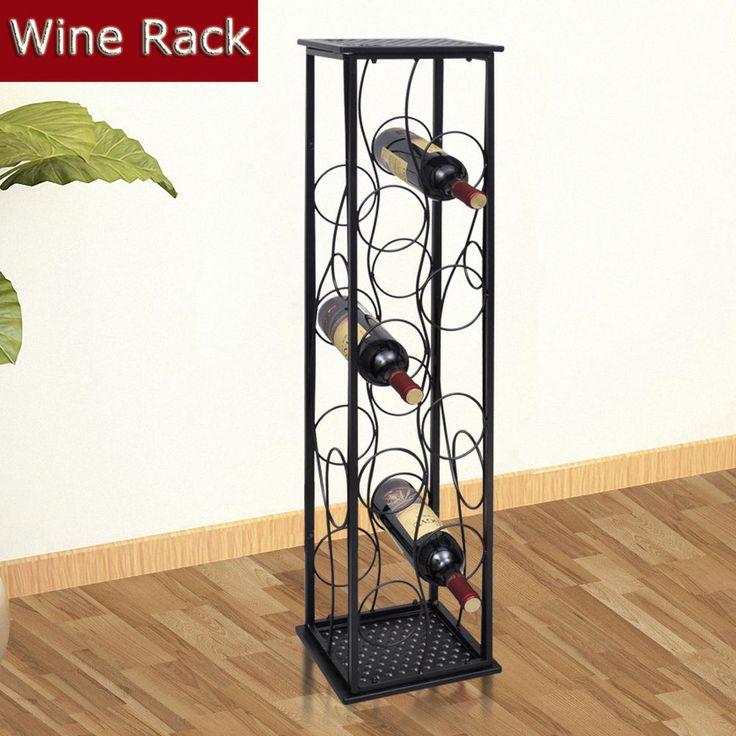 Retro Metal Wine Rack Holder Storage Wine Stand for 8 Bottles Kitchen Home Decor…