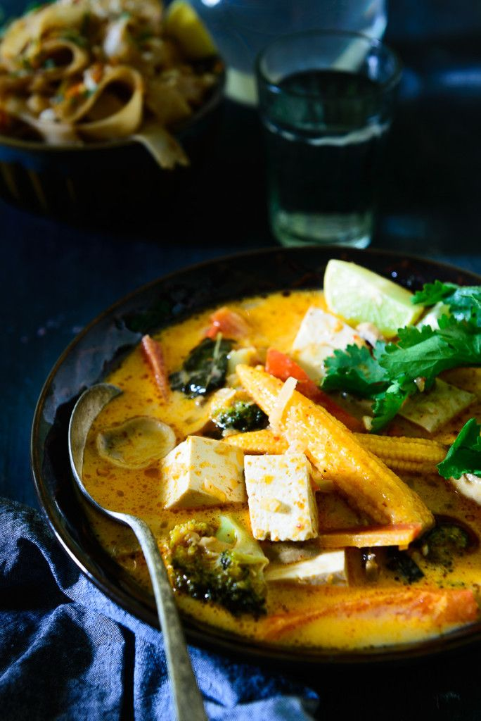 Thai Red Curry with Tofu and Vegetables (thai red curry pasta, baby corn, coconut ilk, lite firm tofu)