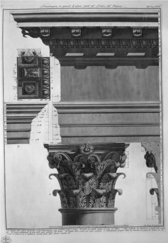 Demonstration in large parts of the Portico of the Pantheon - Giovanni Battista Piranesi