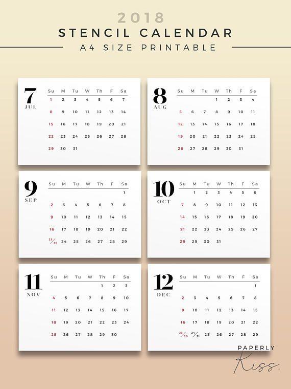 2018 Stencil Calendar, Minimal Printable Wall Calendar, 2018 Minimal