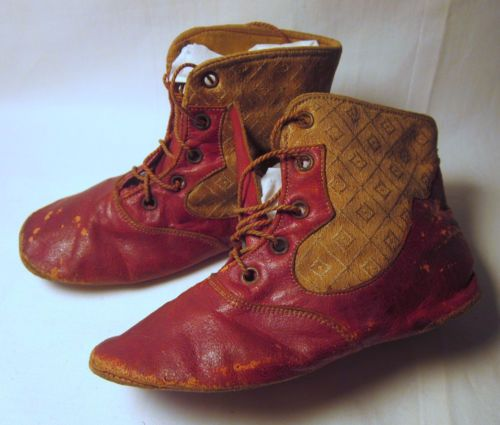 Antique Victorian C 1890 Childs High Red Leather Lace Up Shoes 3 Day | eBay