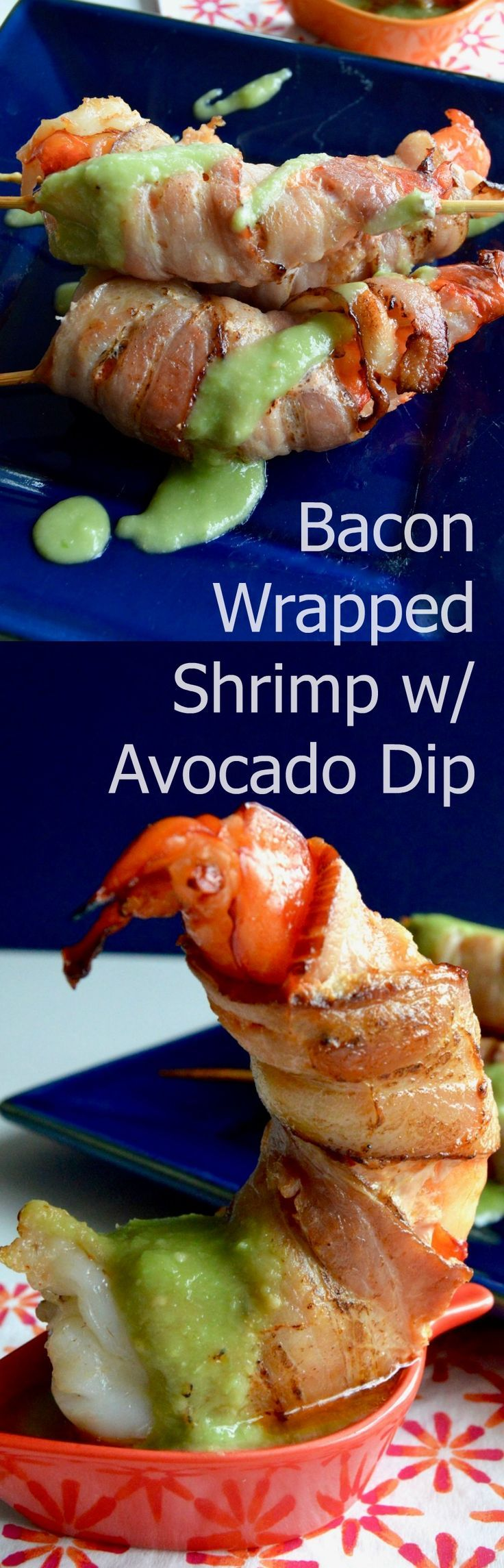Succulent shrimp, wrapped in bacon broiled to perfection then served on skewers with a healthy avocado salsa! |appetizer|pollo loco copycat| via @westviamidwest