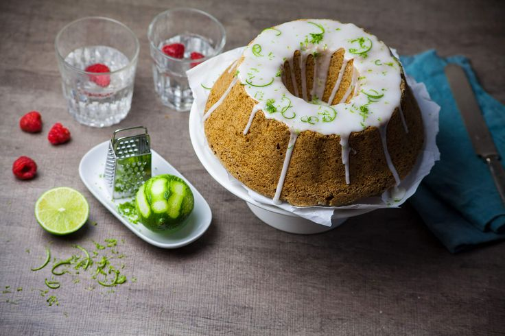Recipe for a moist and delicious vegan sponge cake with fresh lime glaze.