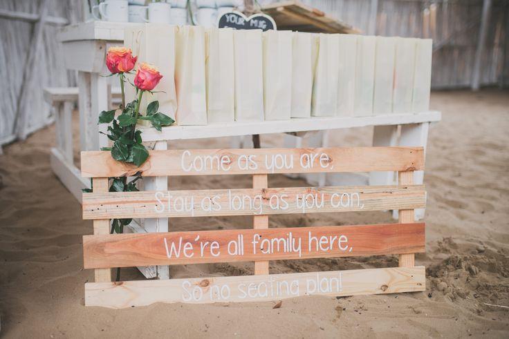 DIY Wedding 'No seating plan' Sign