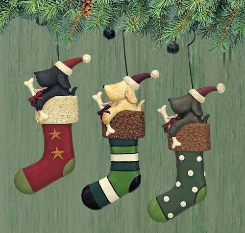 Dogs and Stockings Folk Art Ornaments Set of Three