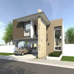 Fachadas: Casas de estilo moderno por GA-Arquitecto https://www.homify.com.mx/libros_de_ideas/4588151/te-damos-mas-de-20-ideas-de-fachadas-para-que-te-inspires-a-construir-tu-casa-pronto