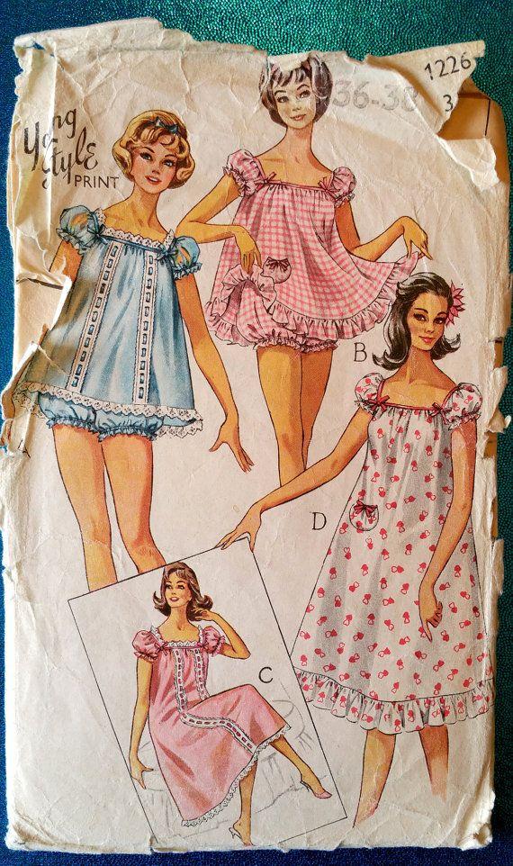 Vintage baby doll pyjama & nightie sewing pattern by kwirkykiwi