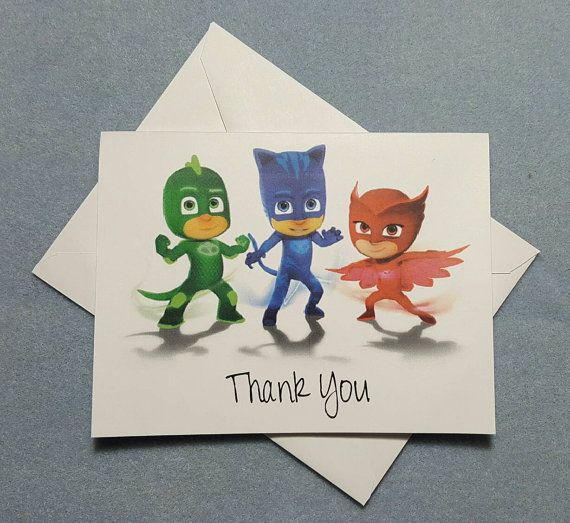 pj masks thank you cards invitations by labelsandstickers