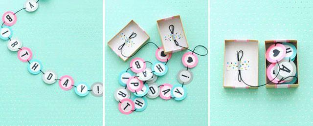 HAPPY BIRTHDAY BANNER BOX - Felicitaciones de cumpleaños bonitas hechas a mano. Manualidades caseras para hacer con niños. Ideas de manualidades que podrás descubrir en Charhadas.com.