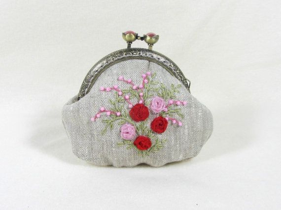 Hand embroidered linen coin purse roses and beads by JRsbags,